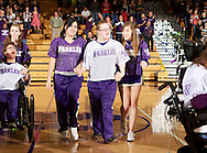 Arvada West junior, Jeremy Maccarrone (in white jersey) performs at Wheat Ridge High School for the Sparkles final performance of the season.