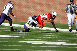 27 October 2007:  Stephen Moore tackles Kevett Mickle after Mickle catches a pass. The Western Illinois Leathernecks beat up on the Illinois State Redbirds  27-14 at Hancock Stadium on the campus of Illinois State University in Normal Illinois.