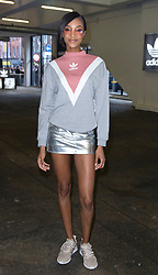 Jourdan Dunn on the front row during the Streets of EQT with Hailey Baldwin at London Fashion Week SS18 show held at The Old Truman Brewery, London.