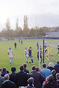 Dulwich Hamlet FC vs Burgess Hill Town F.C. at Champion Hill on 21st October 2017 in South London in the United Kingdom. Dulwich Hamlet was founded in 1893 and both teams play in the Isthmian League Premier Division, a regional mens football league covering London, East and South East England.