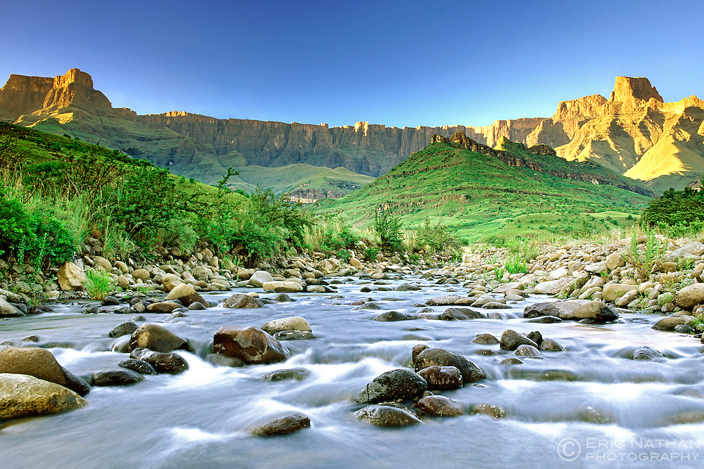 The Amphitheatre and the Tugela River in the Drakensberg Mountains of South Africa's Kwa-Zulu Natal Province.