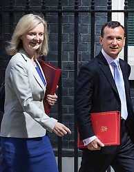 Environment Food and Rural Affairs Secretary Elizabeth Truss and Welsh Secretary Alun Cairns leave Prime Minister David Cameron's final cabinet meeting following Theresa May's anticipated takeover as Leader of the Conservative Party and Prime Minister on Wednesday 13th July 2016.