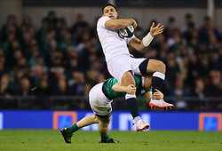 Ben Te'o of England is tackled by Andrew Conway of Ireland - Mandatory by-line: Ken Sutton/JMP - 18/03/2017 - RUGBY - Aviva Stadium - Dublin,  - Ireland v England - RBS 6 Nations