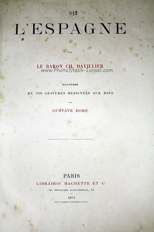 Title page Page illustration from the book 'L'Espagne' [Spain] by Davillier, Jean Charles, barón, 1823-1883; Doré, Gustave, 1832-1883; Published in Paris, France by Libreria Hachette, in 1874