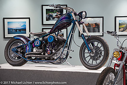 Nikki Martin's 1999 Harley-Davidson Evo Chopper in the Old Iron - Young Blood exhibition in the Motorcycles as Art gallery at the Buffalo Chip during the annual Sturgis Black Hills Motorcycle Rally. Sturgis, SD, USA. Wednesday August 9, 2017. Photography ©2017 Michael Lichter.