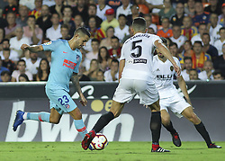 August 20, 2018 - Paulista of Valencia and Vitolo of Atletico de Madrid in action during the spanish league, La Liga, football match between ValenciaCF and Atletico de Madrid on August 20, 2018 at Mestalla stadium in Valencia, Spain. (Credit Image: © AFP7 via ZUMA Wire)