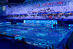 The playing ground for the first semi final Netherlands vs Russia on LEN European Aquatics Waterpolo January 23, 2020 in Duna Arena in Budapest, Hungary