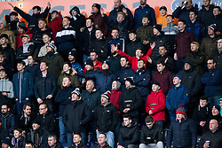 South stand after Falkirk's first goal. Falkirk 3 v 0 Dundee United, Scottish Championship game played 11/2/2017 at The Falkirk Stadium.