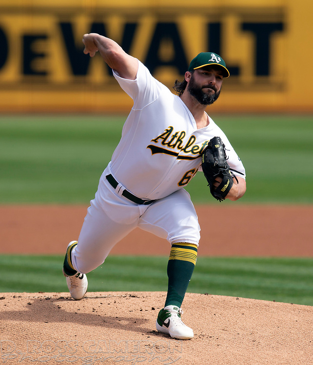 Oakland Athletics starting pitcher Tanner Roark (60) delivers against the Texas Rangers during the first inning of a baseball game, Sunday, Sept. 22, 2019, in Oakland, Calif. (AP Photo/D. Ross Cameron)