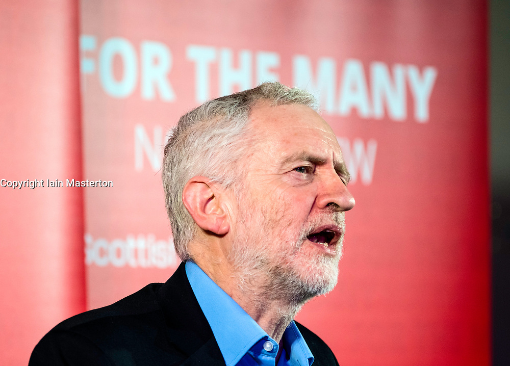 Labour Leader Jeremy Corbyn gives speech at the Shottstown Miners Welfare Hall, Penicuik, Midlothian at the start of a tour of Scotland