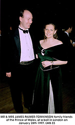 MR & MRS JAMES PALMER-TOMKINSON family friends of the Prince of Wales, at a ball in London on January 24th 1997.LWB 23