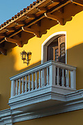 Balcony and balustrade of the yellow La Gran Francia Hotel, Granada, Nicaragua