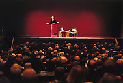 Ex-labour politician Tony Benn at the Fairfax Hall, Croydon, South London, during his roadshow tour.