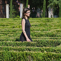 VENICE, ITALY - JUNE 16:  Press Office of Fondazione Cini Elena Casadoro walks inside The Borges Labyrinth on June 16, 2011 in Venice, Italy. To mark the 25th anniversary of the death of celebrated Argentinian writer Jorge Luis Borges the Fundación Internacional Jorge Luis Borges and the Giorgio Cini Foundation created The Borges Labyrinth, a reconstruction of the maze that architect Randoll Coate designed in the writer's honour.