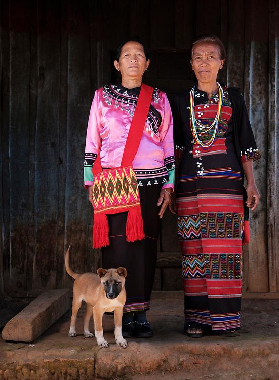 KYAING TONG, MYANMAR - CIRCA DECEMBER 2017:  Portrait of Wa women at the Naung Cho Wa Village of  near Kyaing Tong in Myanmar