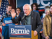 25 OCTOBER 2019 - NEWTON, IOWA: US Senator BERNIE SANDERS (I-VT) speaks at a Sanders campaign event in Newton. Sen. Sanders campaigned at a closed Maytag factory in Newton Friday afternoon. He used the event to call for an end to corporate greed, to promote his Medicare For All plan, and to outline his plan to make higher education affordable and available to all who want it. Sanders is seeking the Democratic nomination for the US Presidency. Iowa holds the first selection event of the presidential election cycle. The Iowa Caucuses are on February 3, 2020.              PHOTO BY JACK KURTZ