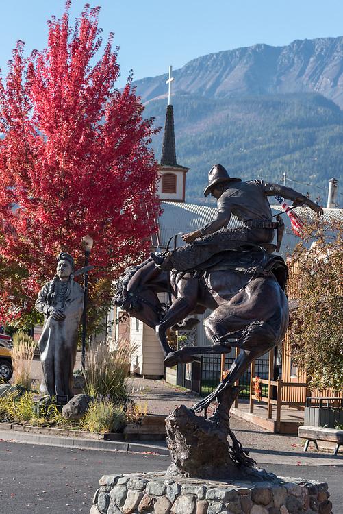 Bronze statues in downtown Joseph, Oregon.