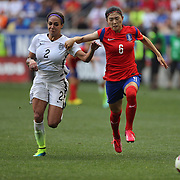 Sydney Leroux, (left), U.S. Women's National Team and Seo-yeon Shim, Korean Republic, challenge for the ball  during the U.S. Women's National Team Vs Korean Republic, International Soccer Friendly in preparation for the FIFA Women's World Cup Canada 2015. Red Bull Arena, Harrison, New Jersey. USA. 30th May 2015. Photo Tim Clayton