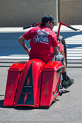 Lupe Aguayo on his Custom bagger at Westworld during Arizona Bike Week 2014. USA. April 6, 2014.  Photography ©2014 Michael Lichter.