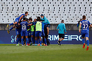 GOAL 2-0 by Francisco Teixeira and all team celebrates during the Liga NOS match between Belenenses SAD and Maritimo at Estadio do Jamor, Lisbon, Portugal on 17 April 2021.