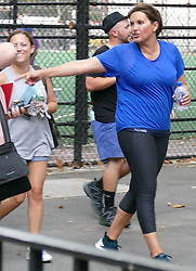 "EXCLUSIVE: ""Law & Order: SUV"" star Mariska Hargitay seen in work out gear and wearing a pony tail while filming scene in New York. 06 Sep 2018 Pictured: Mariska Hargitay. Photo credit: KAT / MEGA TheMegaAgency.com +1 888 505 6342"