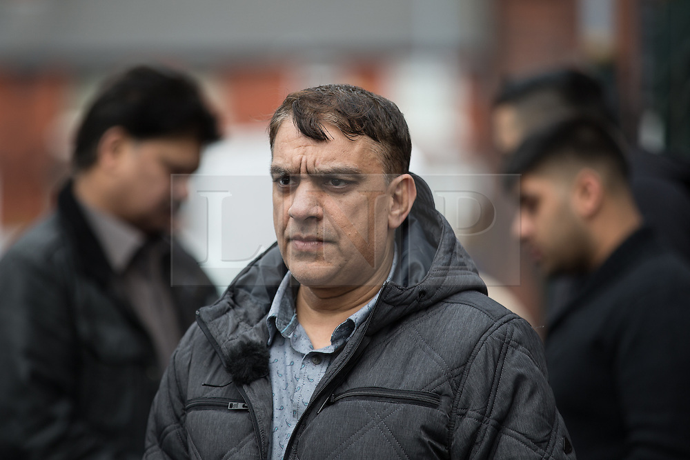 © Licensed to London News Pictures . 01/03/2016 . Manchester , UK . TARIQ HUSSAIN (uncle of Shahzaib Hussain) outside the Masjid Hamza Mosque on Moss Lane West in Ashton Under Lyne , where 11 year old Shahzaib Hussain was killed by a hit and run driver yesterday evening (Monday 29th February 2016) . Photo credit : Joel Goodman/LNP
