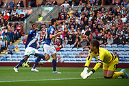 Jon Toral (c) of Birmingham City celebrates after scoring his teams 1st goal. Skybet football league championship match, Burnley  v Birmingham City at Turf Moor in Burnley, Lancs on Saturday 15th August 2015.<br /> pic by Chris Stading, Andrew Orchard sports photography.