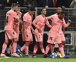 MILAN, Nov. 7, 2018  FC Barcelona's Malcom (1st R) celebrates his goal with teammates during the UEFA Champions League Group B match between FC Inter and FC Barcelona in Milan, Italy, on Nov. 6, 2018. The match ended with 1-1 draw. (Credit Image: © Augusto Casasoli/Xinhua via ZUMA Wire)