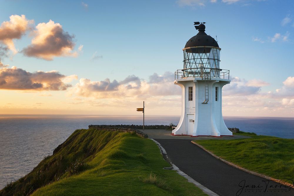 Cape Reinga lighthouse at sunset on the northern tip of the North Island,  North Island, New Zealand