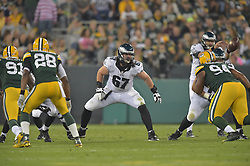 Dennis Kelly #67 of the Philadelphia Eagles against the Green Bay Packers at Lambeau Field on August 29, 2015 in Green Bay, Pennsylvania. The Eagles won 39-26. (Photo by Drew Hallowell/Philadelphia Eagles)