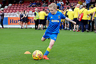 *** during the EFL Sky Bet League 1 match between AFC Wimbledon and Oldham Athletic at the Cherry Red Records Stadium, Kingston, England on 21 April 2018. Picture by Matthew Redman.