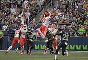 Aug 25, 2017; Seattle, WA, USA; Kansas City Chiefs wide receiver Marcus Kemp (7) attempts to catch a pass as Seattle Seahawks defensive back Pierre Desir (28) defends during a NFL football game at CenturyLink Field. The Seahawks defeated the Chiefs 26-13.