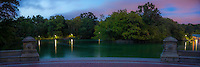 Panoramic view near the Bethesda Fountain in New York City's Central Park at sunset.