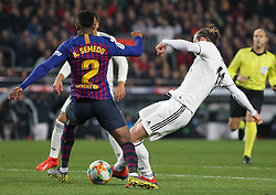 February 6, 2019 - Barcelona, BARCELONA, Spain - Gareth Bale of Real Madrid and Semedo of Barcelona in action during Spanish King championship, football match between Barcelona and Real Madrid, February 06th, in Camp Nou Stadium in Barcelona, Spain. (Credit Image: © AFP7 via ZUMA Wire)