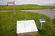 Information board and map about walks around Eoligarry, Barra, Outer Hebrides, Scotland, UK