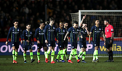 File photo dated 16-02-2019 of Manchester City's Phil Foden (second right) celebrates scoring his side's second goal of the game against Newport with team mates during the FA Cup fifth round match at Rodney Parade, Newport.