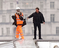 Tom Cruise on Blackfriars Bridge in London, during filming for Mission Impossible 6.
