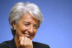 File Photo - Economy minister Christine Lagarde attends the UMP's National Council, held at the Meridien Hotel in Paris, France on July 7, 2007. The European Council announced Tuesday that Lagarde, the current head of the International Monetary Fund, had been chosen to succeed Mario Draghi as president of the European Central Bank,, whose eight-year term ends in October. Photo by Bisson-Fohlen/ABACAPRESS.COM