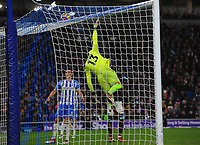 Football - 2017 / 2018 Premier League - Brighton & Hove Albion vs. West Ham United<br /> <br /> Jose Izquierdo of Brighton floats the ball over the head of Goalkeeper Adrian to score goal no 2 at The Amex.<br /> <br /> COLORSPORT/ANDREW COWIE