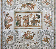Picture of a Roman mosaics design depicting scenes from the Life of Dionysus, from the ancient Roman city of Thysdrus, House of Silenus. Late 2nd to early 3rd century AD. El Djem Archaeological Museum, El Djem, Tunisia.<br /> <br /> In the central panel of this Roman mosaic Dionysus is being crowned whilst his teacher, Silenus, is being carried towards a donkey. .<br /> <br /> If you prefer to buy from our ALAMY PHOTO LIBRARY  Collection visit : https://www.alamy.com/portfolio/paul-williams-funkystock/roman-mosaic.html  . Type -   El Djem   - into the LOWER SEARCH WITHIN GALLERY box. Refine search by adding background colour, place, museum etc<br /> <br /> Visit our ROMAN MOSAIC PHOTO COLLECTIONS for more photos to download  as wall art prints https://funkystock.photoshelter.com/gallery-collection/Roman-Mosaics-Art-Pictures-Images/C0000LcfNel7FpLI