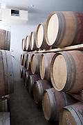 Wine barrel storage in a winery wine cellar