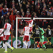 Anatole Abang, New York Red Bulls, scores during the New York Red Bulls Vs Columbus Crew SC, Major League Soccer Eastern Conference Championship, second leg, at Red Bull Arena, Harrison, New Jersey. USA. 29th November 2015. Photo Tim Clayton