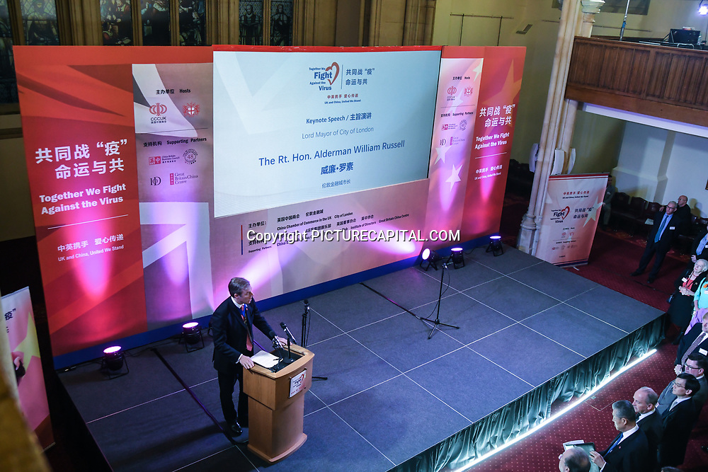 Speakers Alderman William Russell at China-UK United We Stand together to fights the #Covid19 at Guildhall, on 28th February 2020, London, UK.