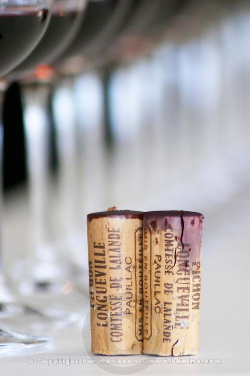 Corks. Wine glasses. Chateau Pichon Longueville Comtesse de Lalande, pauillac, Medoc, Bordeaux, France