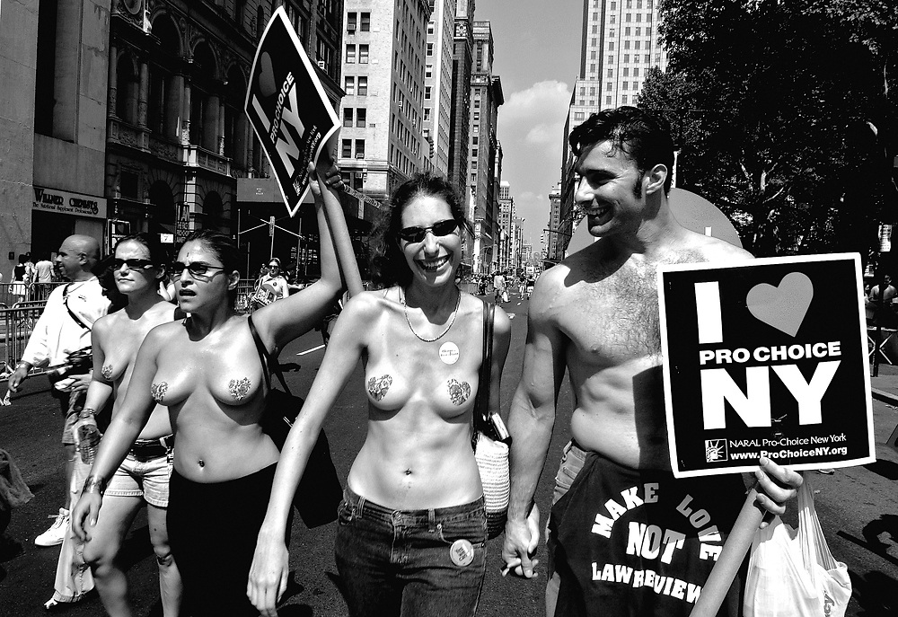 """RNC Week<br />Saturday, August 28, 5:00-7:45 PM.<br />Aug 28, 2004 7:19 pm US/Eastern<br />NEW YORK (AP)  Thousands of abortion-rights activists marched across the Brooklyn Bridge on Saturday, the latest in a growing procession of protests leading up to the Republican National Convention.<br /><br />Protesters were expected to gather later in the day at the World Trade Center site, where anti-Bush demonstrators planned to ring 2,749 bells -- one for each victim of the Sept. 11 attacks there. <br /><br />The Brooklyn Bridge march, organized by the abortion rights group Planned Parenthood, attracted thousands of people on a hot, humid day. crossed the bridge in a line 10 people wide and about a half-mile long. <br /><br />""""I'm affected personally, in terms of birth control. I demand and cherish that right,"""" said Sara Breman, a 22-year-old student from Austin, Texas. <br /><br />""""Under Bush, that right is being threatened through sex education that teaches only abstinence,"""" said the colleges student before rolling her bicycle onto the bridge. <br /><br />Some of the marchers chanted: """"What does democracy look like?"""" While others answered, """"This is what democracy looks like!"""" <br /><br />The march ended with a rally at City Hall Park in lower Manhattan. <br /><br />""""We are marching for freedom, and choice is a necessary pre-condition for freedom,"""" actress Kathleen Turner told the rally. """"Our country has a very uncomfortable relationship with sex. Do they expect us to accept their shame?"""" <br /><br />Police on foot and in cars were monitoring the protests, but there were no early reports of arrests. <br /><br />On Friday night, 264 people were arrested for disorderly conduct in a protest bicycle ride that snaked through the city and passed by Madison Square Garden, where the convention is to begin Monday. <br /><br />The bike ride represented the first major clash between police and demonstrators converging on the city for the convention. <br /><br />In Central Park on S"""