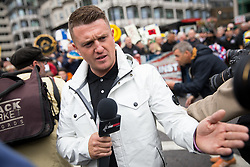 © Licensed to London News Pictures. 07/10/2017. London, UK. Former Leader of the English Defence League Tommy Robinson takes part in a march against extremism organised by the 'Football Lads Alliance' (FLA) in central London. Photo credit : Tom Nicholson/LNP