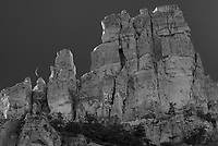Layout Canyon in the Pryor Mountains is filled with towering cliffs like this one. I balanced the crescent moon on one of the pillars.