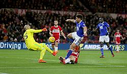 Birmingham City's Che Adams has his shot saved by Middlesbrough goalkeeper Darren Randolph