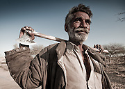 Portrait of a camel driver, in the desert of Rajhastan, India
