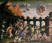 Minerva chasing the vices from the garden of virtue (detail). Minerva, Roman goddess of wisdom, patroness of arts and trades. Andrea Mantegna (1431-1506). Louvre, Paris.